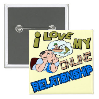 Online Relationship Fishing T-shirts / Gifts 15 Cm Square Badge