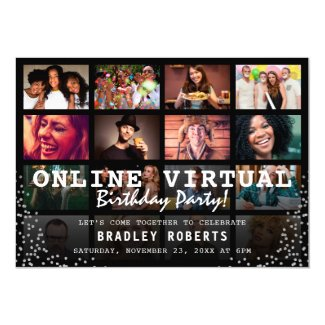 Online Virtual Photo Birthday Party Invitation