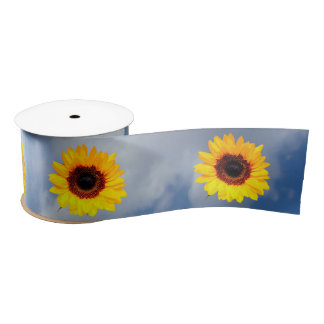 Only a Sunflower Blossom + your text & ideas Satin Ribbon