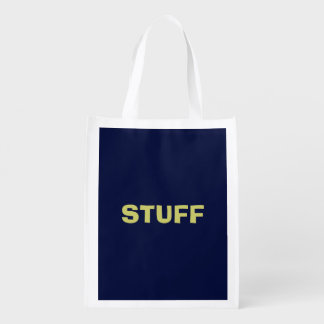 Only Blue navy solid color Reusable Grocery Bag