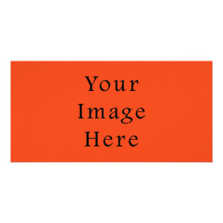 Only Bright Orange Color Trend Blank Template Personalized Photo Card