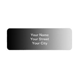 ONLY COLOR gradients - black grey Return Address Label