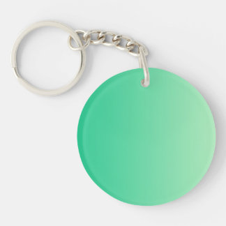 ONLY COLOR gradients - ocean green Double-Sided Round Acrylic Key Ring