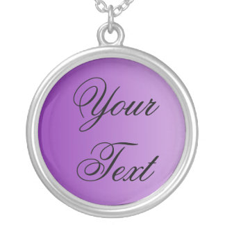 ONLY COLOR gradients purple + your text Round Pendant Necklace