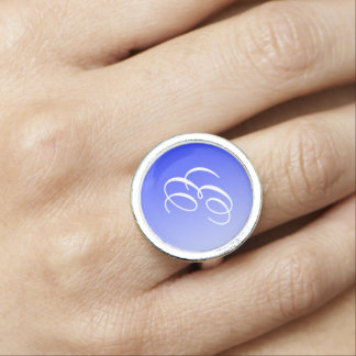 ONLY COLOR gradients royal blue + your monogram Photo Rings