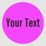 ONLY COLOR | pink + your text Round Sticker