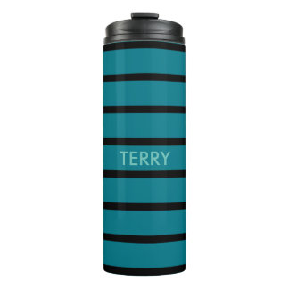 ONLY COLOR STRIPES - petrol + your backgr. & ideas Thermal Tumbler
