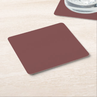 Only gorgeous warm burgundy marsala solid OSCB21 Square Paper Coaster