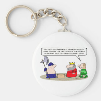 only king head chopped off basic round button key ring