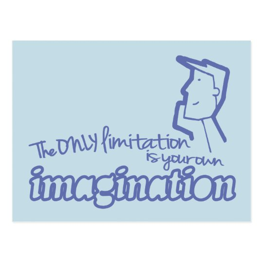 Only limitation imagination blue quote postcard