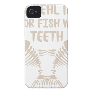 Only Real Men Go For Fish With Teeth iPhone 4 Case-Mate Cases