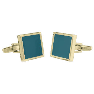 Only teal solid color gold finish cuff links