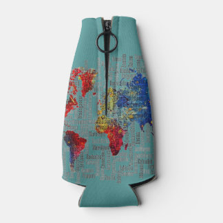 Only turquoise gorgeous seafoam world map OSCB42 Bottle Cooler