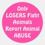 OnlyLOSERS Fight Round Pink Classic Round Sticker