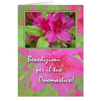 Onomastico, Name Day in Italian, Azaleas Card