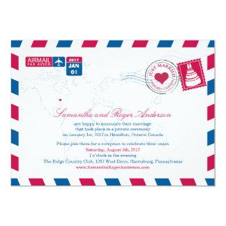 "Ontario Canada Air Mail Post Wedding Reception 5"" X 7"" Invitation Card"
