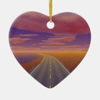OnTheRoadAgain - Lonesome Trucker Ceramic Heart Decoration
