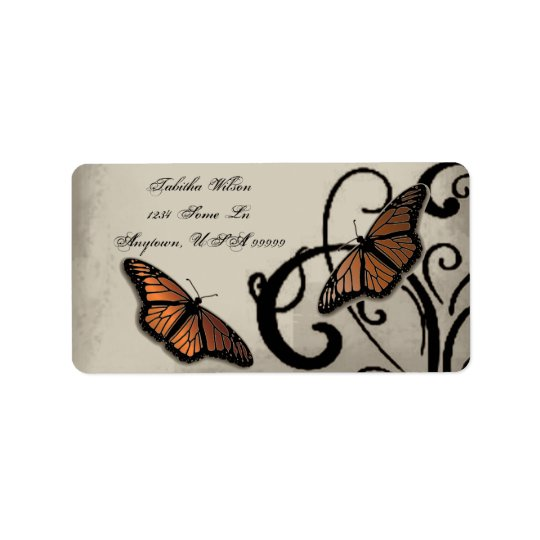 Onyx Butterfly Swirl Address Label