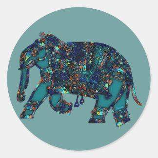 Onyx Elephant Classic Round Sticker