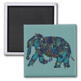 Onyx Elephant Square Magnet