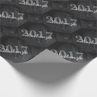 Onyx Graduate Classic Black Charcoal Matte Velvet Wrapping Paper