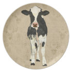 Onyx & Pearl Cow Plate