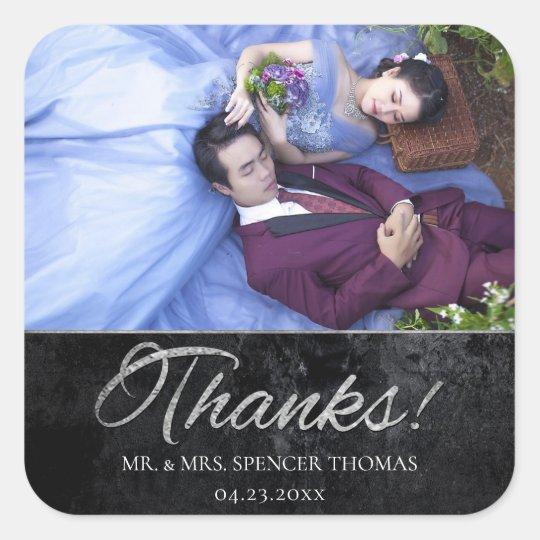Onyx Wedding | Silver Thank You Black Matte Photo Square Sticker