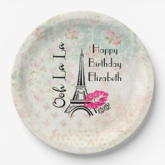 Ooh La La Paris Eiffel Tower Happy Birthday Paper Plate