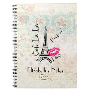 Ooh La La Paris Eiffel Tower on Vintage Pattern Notebooks