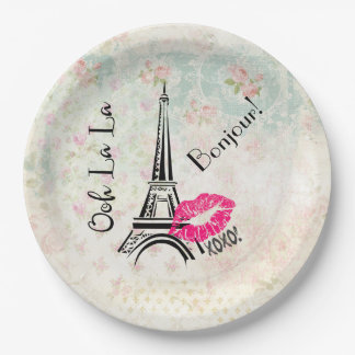 Ooh La La Paris Eiffel Tower on Vintage Pattern Paper Plate