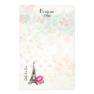 Ooh La La Paris Eiffel Tower on Vintage Pattern Stationery