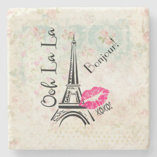 Ooh La La Paris Eiffel Tower on Vintage Pattern Stone Coaster