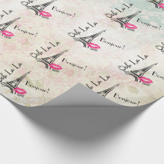Ooh La La Paris Eiffel Tower on Vintage Pattern Wrapping Paper