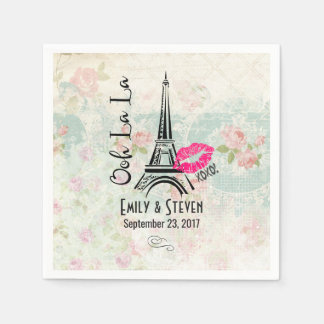 Ooh La La Paris Eiffel Tower Vintage Wedding Paper Napkin