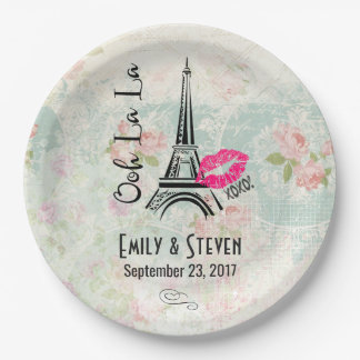 Ooh La La Paris Eiffel Tower Vintage Wedding Paper Plate