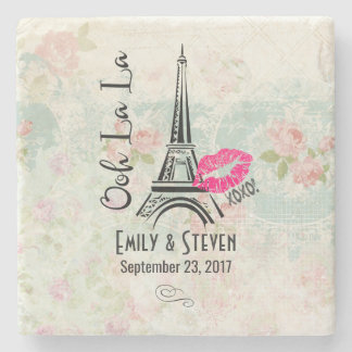 Ooh La La Paris Eiffel Tower Vintage Wedding Stone Beverage Coaster