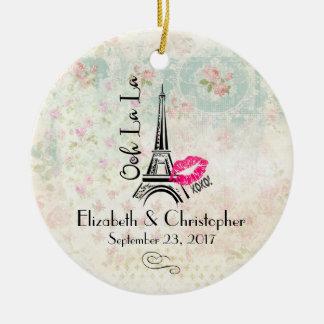Ooh La La Paris Eiffel Tower Wedding Christmas Ornament
