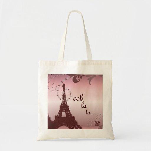 ooh la la pink vintage paris eiffel tower canvas bags