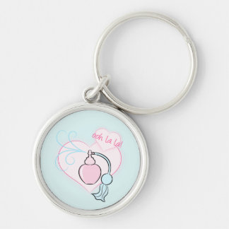 Ooh La La! Pretty Perfume Silver-Colored Round Key Ring