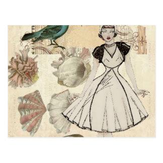 Oohlala fashionista seashell Vintage Paris Postcard