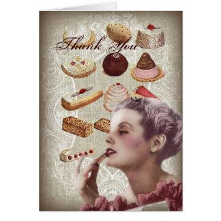 Oohlala pastry Vintage Paris Lady bridal thankyou Greeting Cards