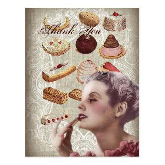 Oohlala pastry Vintage Paris Lady bridal thankyou Postcard