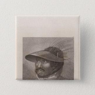 Oonalashka man, Alaska 15 Cm Square Badge