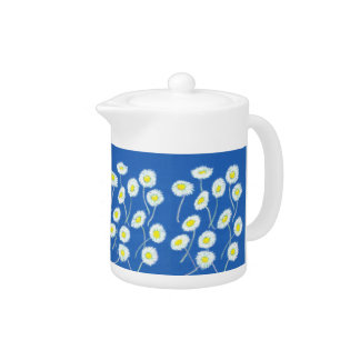 Oops-a-Daisy Tea Pot, White, Yellow, Blue