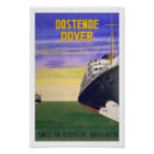 Oostende Dover Belgium UK Ship Vintage Travel Poster