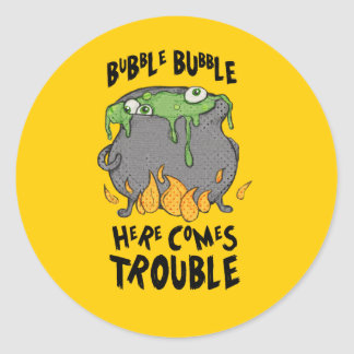 Oozy Cauldron Here Comes Trouble Halloween Sticker