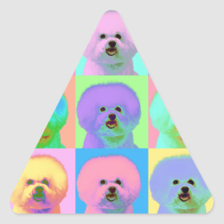 Op Art - Bichon Frise - Cody Triangle Sticker