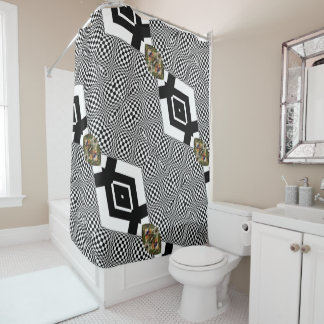 Op Art Black and White and Google Dreamed Floral Shower Curtain