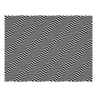 Op Art Black and White Horizontal Sine Stripes Poster