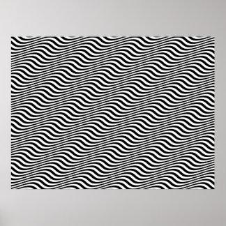 Op Art Black and White Horizontal Sine Stripes Poster